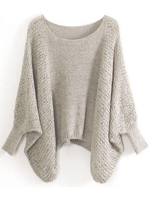 Khaki Batwing Sleeve Hollow Loose Sweater 23.67
