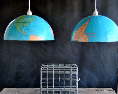 Luminária criativa Globo feita com globos terrestres