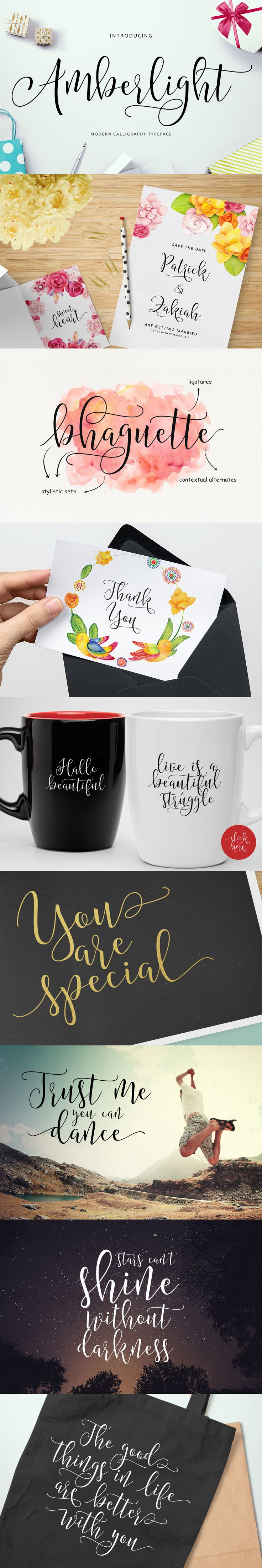 Amberlight is a new, modern, calligraphy style font typeface.