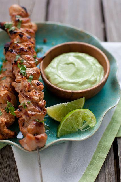 Chicken: Lime, chili powder, paprika, cumin, cayenne, gardlic, brown sugar, chipotle in adobo, cilantro. Sauce: avocado, yogurt, garlic, lime.