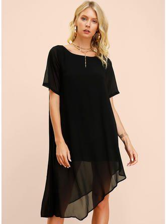 VERYVOGA Couleur Unie Manches 1/2 Droite Asymétrique Petites Robes Noires/Décontractée/Élégante Robe 2