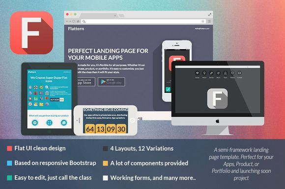 Flattern - All in One Landing Page ~ Bootstrap Themes on Creative Market