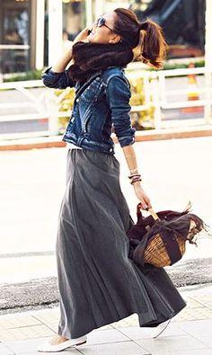 Trendy Clothing Ideas For Fall....Denim Jacket + Maxi Skirt
