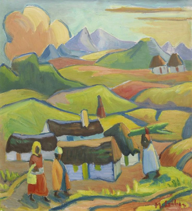 Maggie Laubser (South African painter and printmaker) 1886 - 1973 Landscape with Houses and Figures, s.d. oil on board 44.5 x 50 cm. (17 ½ x 19 11/16 in.) signed 'M. Laubser' (lower right)
