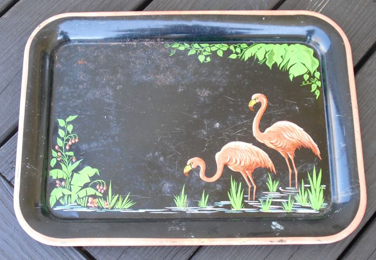 Sold. Television Tray, Lithographed Black and Pink Flamingo, Metal Serving Tray, Mid-Century Modern Tray, Retro, Really Cool Tropical TV Tray by AgsVintageCove on Etsy