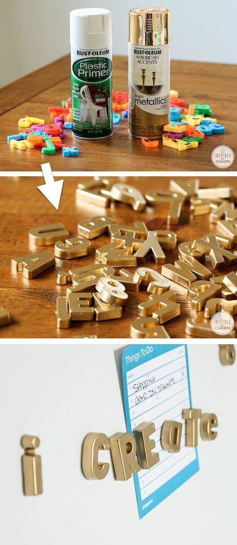 DIY Gold Magnetic Letters (coole Idee für den Kühlschrank!) – Wohnkultur-Ideen für