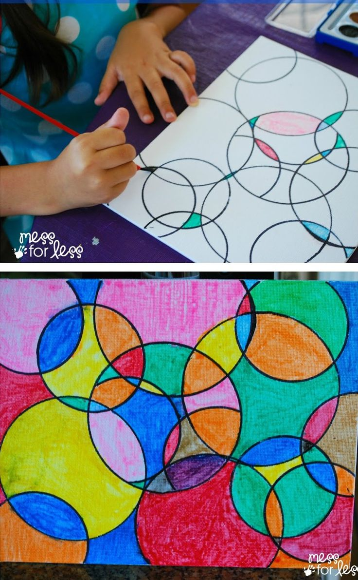Watercolor Circle Art | The results are always eye catching no matter how kids chose to paint it! (Scheduled via TrafficWonker.com)