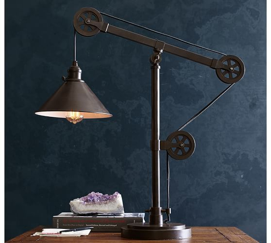 warren pulley task table lamp pottery barn for the. Black Bedroom Furniture Sets. Home Design Ideas