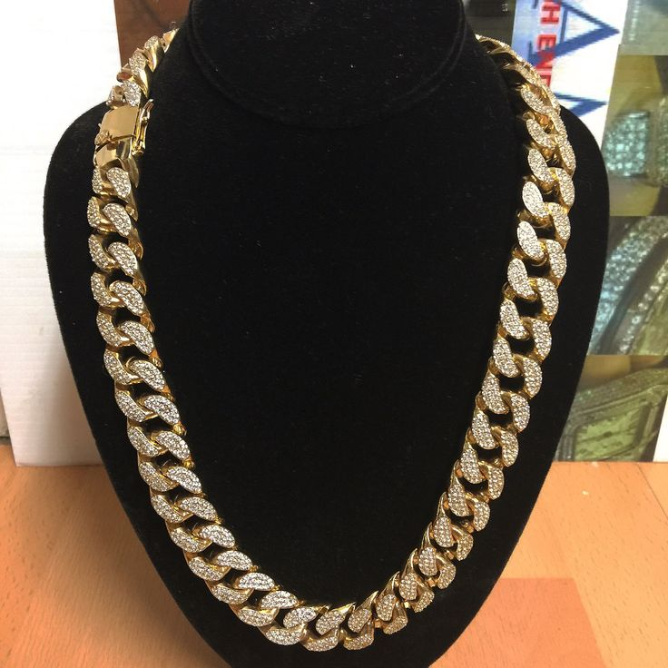 XL 18MM. YG,RG,WG-FINISH MIAMI CUBAN LINK CHAINS,LAB SIMULATED VVS DIAMONDS.(7-10 DAYS FOR PLATING PROCESS)