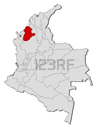 Mapa de Colombia con las provincias, Córdoba se pone de relieve. Vectores