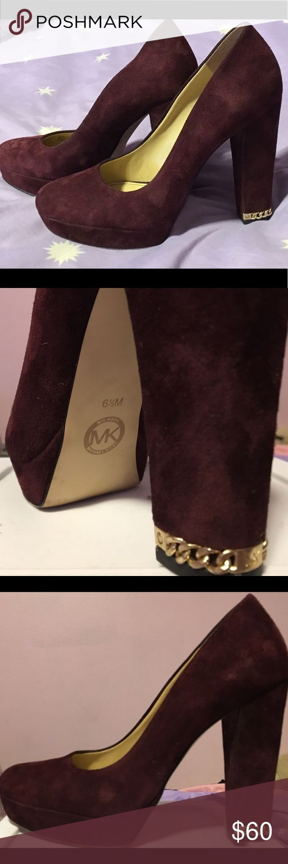 Michael Kors platform heels wine red w/gold accent Size 6 1/2 and made of suede-like material with the cutest chain accent on the bottom of the heel. I absolutely HAD to have these when I saw them, only one left and it was exactly my size, matched a dress I had perfectly ❤️ Half a year later and I never wore that dress because the plan fell through and I've worn these to work one time and never again. Please give these babies a nice home. Just the slightest smudge from the store but I don't…