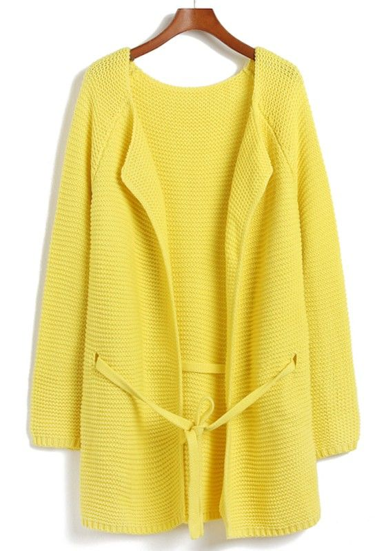 yellow belted cardi