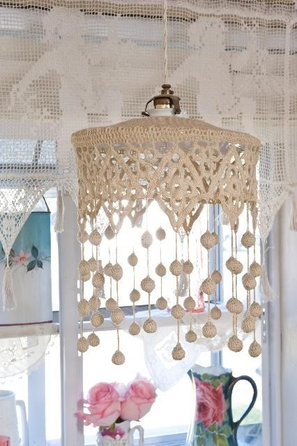 French Crochet Lace Shade, this would be cute with the crocheted antique table cloth I bought last week.
