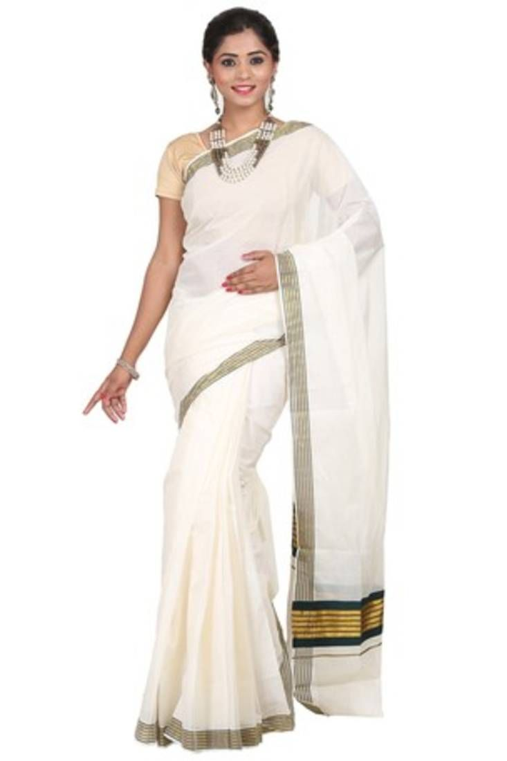 Get Finest Cream woven cotton saree with blouse only at Mirraw. Check out our website for more information!