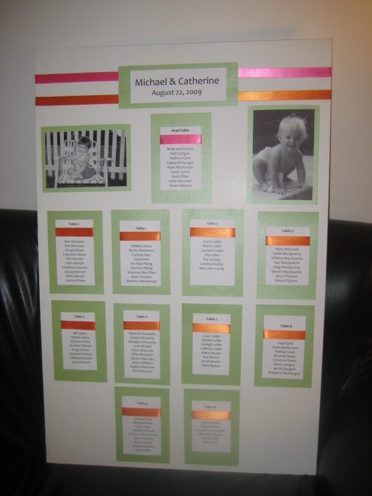 Wedding seating chart with baby photos of the bride and groom. More photo seating plans at http://www.toptableplanner.com/blog/happy-memories-wedding-table-plan