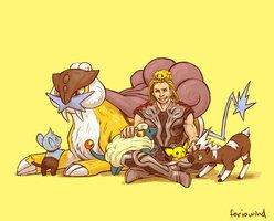 AVENGERS+PKMN - electric by *FerioWind on deviantART // Thor's team is my 2nd favorite team (after Cap't)