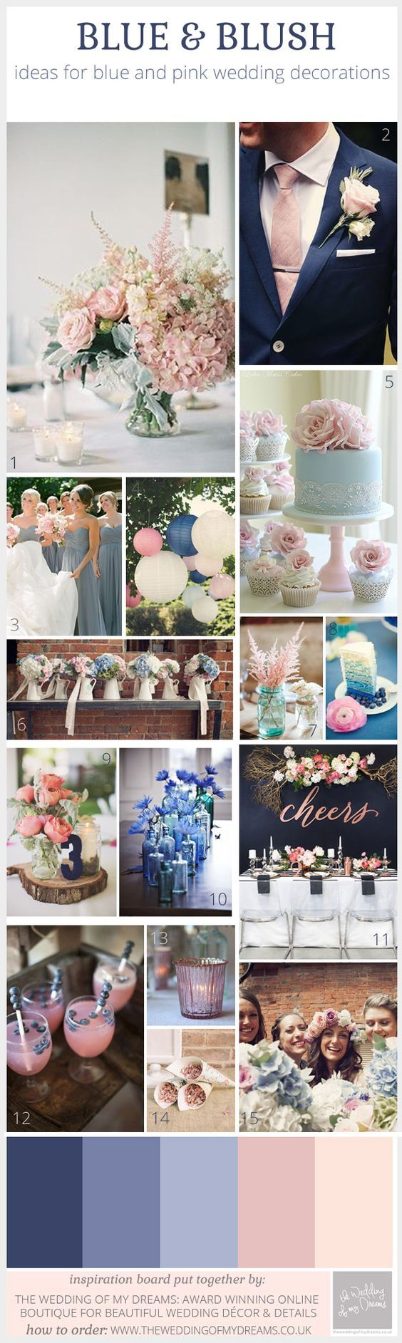 Blue And Blush Pink Wedding Decorations U2013 Inspiration Board