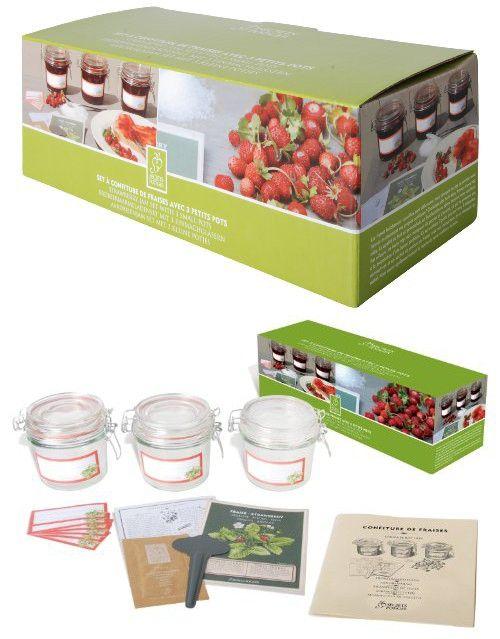 Esschert Design USA 2014 Secrets du Potager Strawberry Jam Set with 3 Small Jars