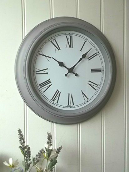 Shabby Chic Vintage Style Large Grey Wall Clock - Perfect for any Living Room, Dining Rooms, Kitchen, Hallway, Lounge, Conservatory or Bedroom