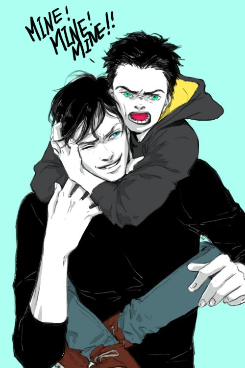 Someone doesn't like to share. Dick Grayson and Damian Wayne.