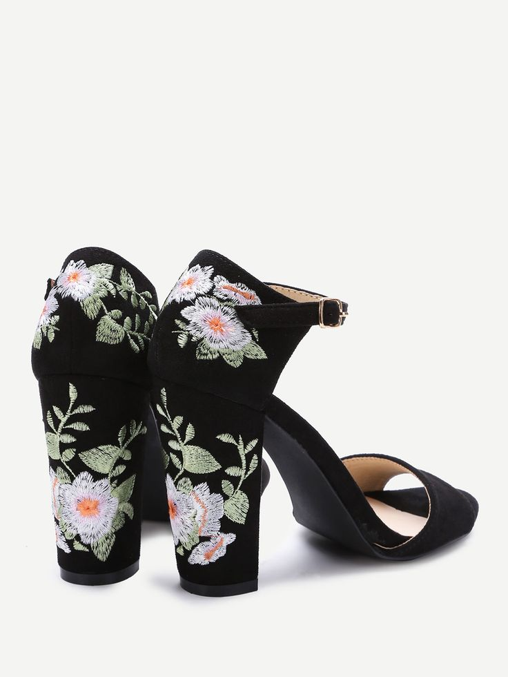 Shop Black Flower Embroidery Chunky Heel Sandals online. SheIn offers Black Flower Embroidery Chunky Heel Sandals & more to fit your fashionable needs.