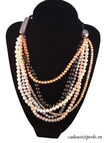 Un amestec de perle, un colier de un efect incredibil, realizat din 6 siraguri inegale de perle naturale de apa dulce din culori diferite: alb, roz, lavanda, negru, gri, auriu. Lungimea lui este reglabila datorita lantului cu prelungire de la spate. Colier unicat. Se pot realiza la comanda alte modele in alte combinatii.
