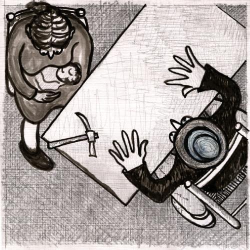 SIN PAN Y SIN TRABAJO :     DIBUJO INSPIRADO EN LA OBRA DEL MISMO NOMBRE (1892-1893)    DEL PINTOR ARGENTINO ERNESTO DE LA CARCOVA . 1867 - 1927      dimensiones 15.8 cm. por 15.8 cm.   | quesadaramiro