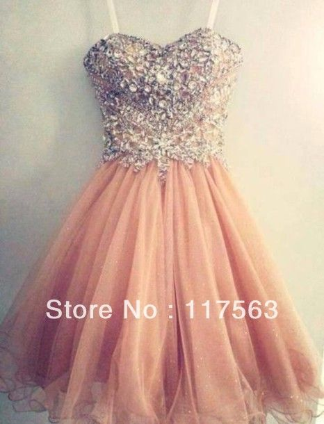 Popular Spaghetti Strap Tulle Beaded Short Coral Prom Dress Free Shipping WH392-in Prom Dresses from Apparel & Accessories on Aliexpress.com...