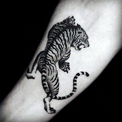 Tiger Tattoos Designs On Man's Wrist