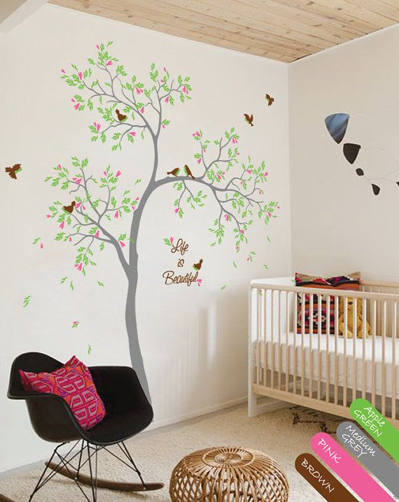 tree wall decal with custom name or quote beautiful baby room decal nursery wall mural sticker. Black Bedroom Furniture Sets. Home Design Ideas