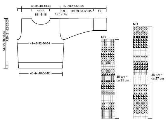 """DROPS Trui met strepen en gehaakte wanten van """"Eskimo"""". Maat S t/m XXL. ~ DROPS Design"""