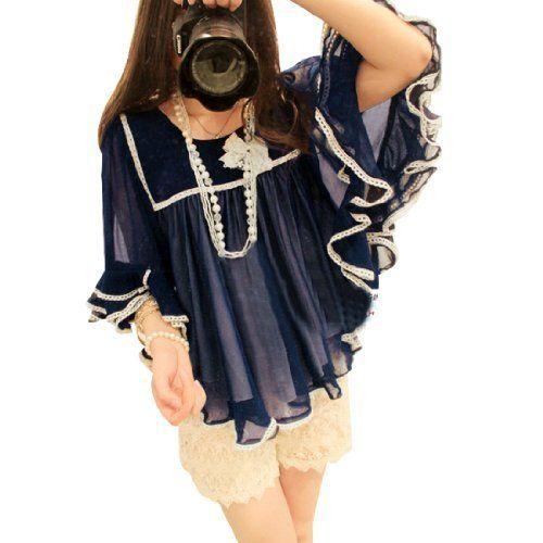 Allegra K Ladies Tiered Half Length Sleeve Scoop Neck Chiffon Top Blouse Navy Blue XS Allegra K. $15.59