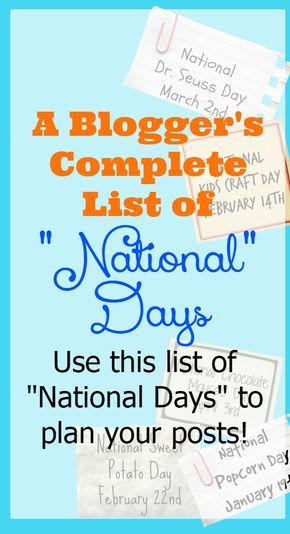 "A Blogger's List of National Days There's a ""National"" day for EVERYTHING….we Americans LOVE celebrating! As a blogger it seems like I'm always behind on knowing exactly when National days are….you know what I mean….like National Tortellini Day (it's February 13th!) or National Fried Chicken Day (July 6th) or even National Ice Cream Day (July …"