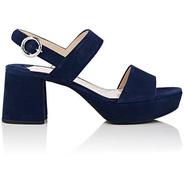 Prada Women's Suede Double-Band Platform Sandals found on Polyvore featuring shoes, sandals, heels, navy, slingback sandals, open toe heel sandals, navy blue sandals, mid heel sandals and heeled sandals
