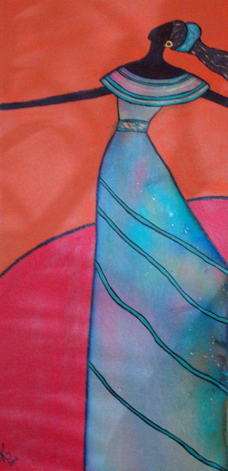 "DANCING IN THE DESERT #1 Acrylic on canvas 30cmx61cm (12""x24"") $150"