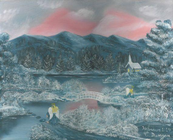 Winter Scene  Christmas Landscape Poster by AngelicArtDesignShop