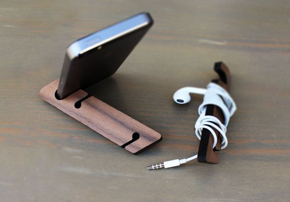 Iphone phone stand, Modern Phone stand, Walnut Phone Stand
