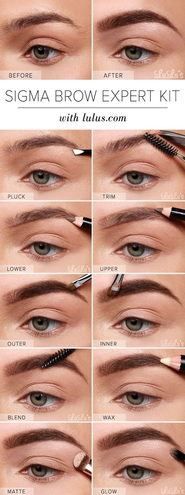 Here's a basic step-by-step chart on how to actually do your eyebrows.