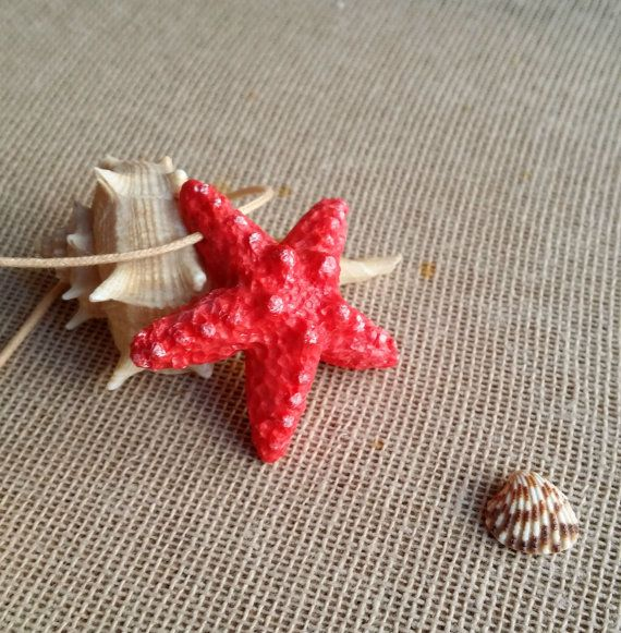 White starfish charm necklace handmade from polymer clay ...