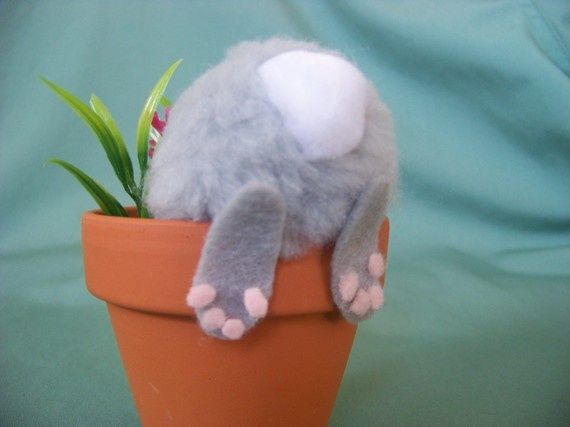 Whimsical Easter Decoration / Bunny In Flower Pot - 29 Creative DIY Easter Decoration Ideas