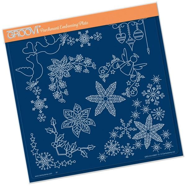 Tina's Christmas Corners 2 Groovi Plate A4 Square – Claritystamp