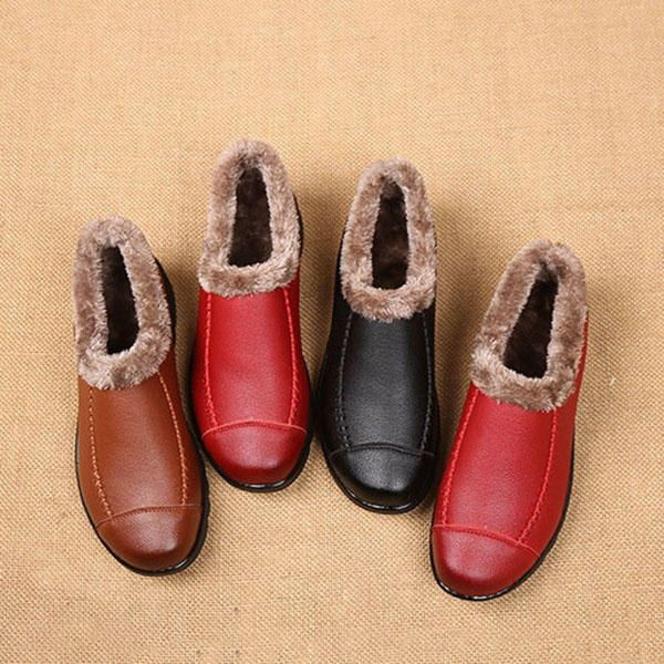 US Size 5-10 Soft Sole Slip On Leather Casual Fur Lining Shoes - US$28.96
