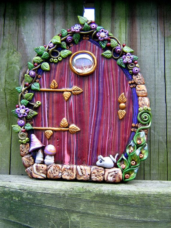 Lavender Love Fairy Door Polymer Clay Pixie Portal by Pink Chihuahua Crafts