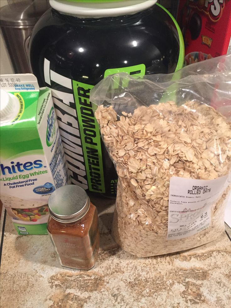 Ingredients for protein pancakes 1Cup egg whites 1/3 cup organic rolled oats (sprouts) 1 scoop whey protein (muscle pharm cookies and cream) And cinnamon to taste  Blend together and poor in a skillet to make one large pancake   Eat plane or with almond butter also sprouts has a great all natural maple syrup no calories no sugar no fat