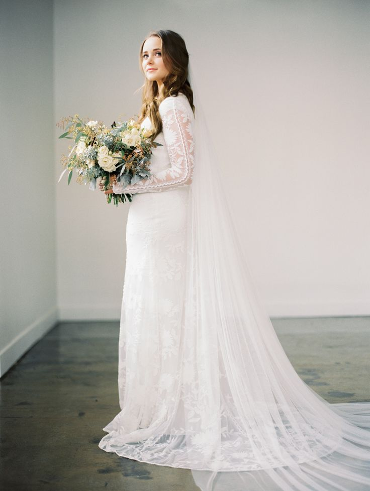 Modest wedding dress with long sleeves and a straight for Long straight wedding dresses