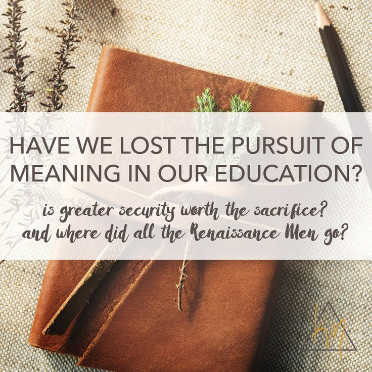 "Have we lost the pursuit of meaning in our education?Is greater security worth the sacrifice? And where did all the Renaissance Men go? ""As tuition sky rockerts and a college degree is seen as a ticket to economic stability, many people today consider education to be instrumental - a step toward a job rather than an opportunity for moral and intellectual growth. The American Freshman survey has tracked the values of college students since the mid-1960s. In the late sixties, the top priority…"