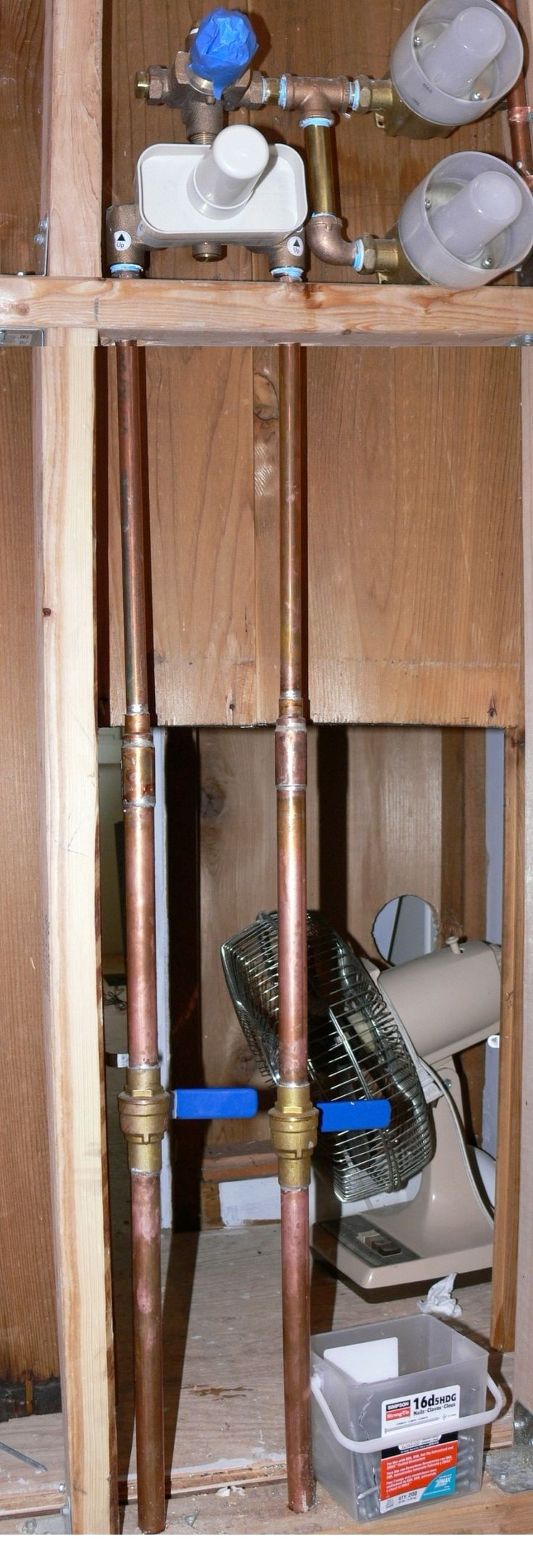 Photo Gallery Website Shower supply plumbing showing shut off ball valves to