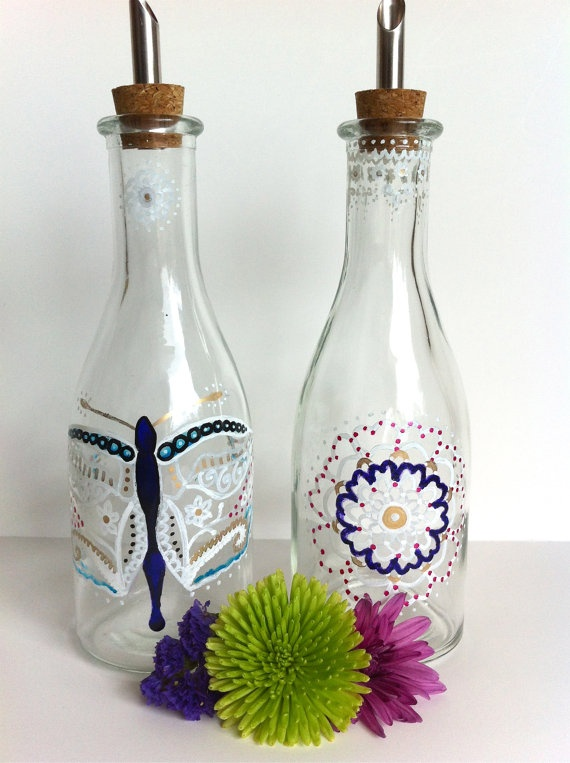RESERVED Hand Painted Oil and Vinegar Dispensers by BohoTheBear, $24.00