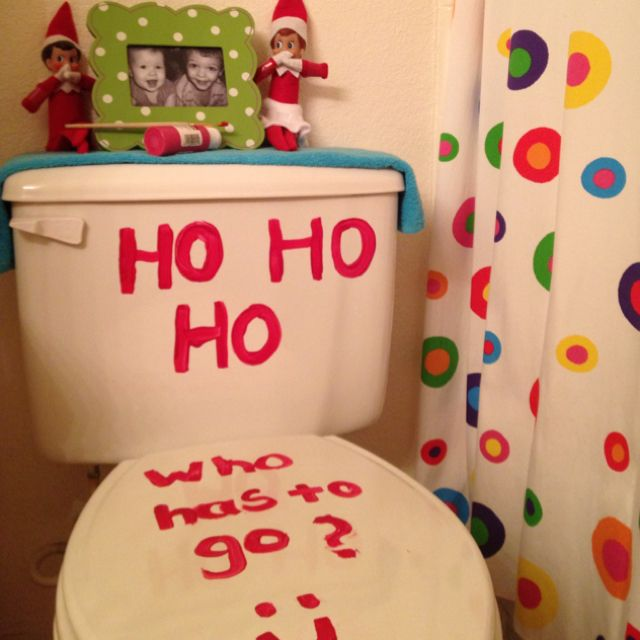 Elf on a shelf antic being silly in the bathroom for Elf on the shelf bathroom ideas