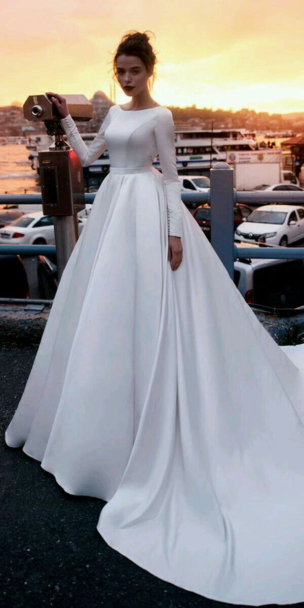 Vintage Wedding Dresses 2019 Ball Gown Wedding Dresses With Lace Appliques Long Sleeve Satin Wedding Dress Backless Wedding Dress Wedding Dress Sleeves